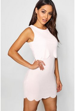 Womens Nude Scallop Double Layer Bodycon Dress
