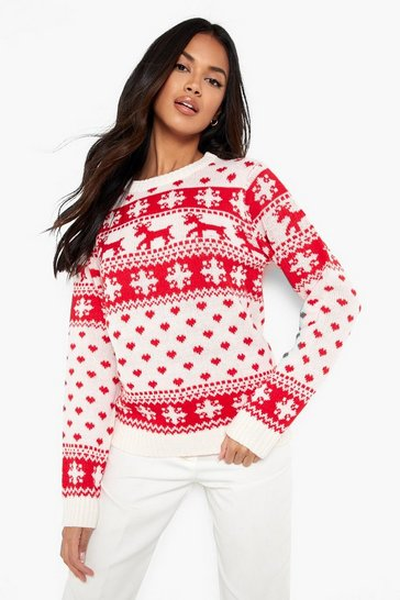 Womens Cream Reindeer Hearts & Snowflake Christmas Jumper