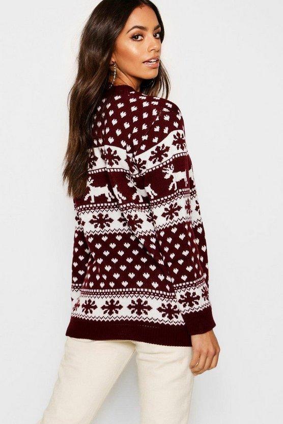 Reindeer & Snowflake Christmas Jumper