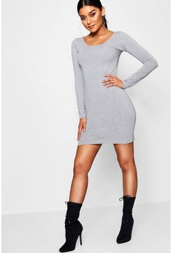 Long Sleeve Scoop Neck Bodycon Dress, Серый, Женские