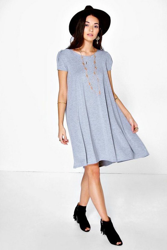 Selma Cap Sleeve Jersey Swing Dress