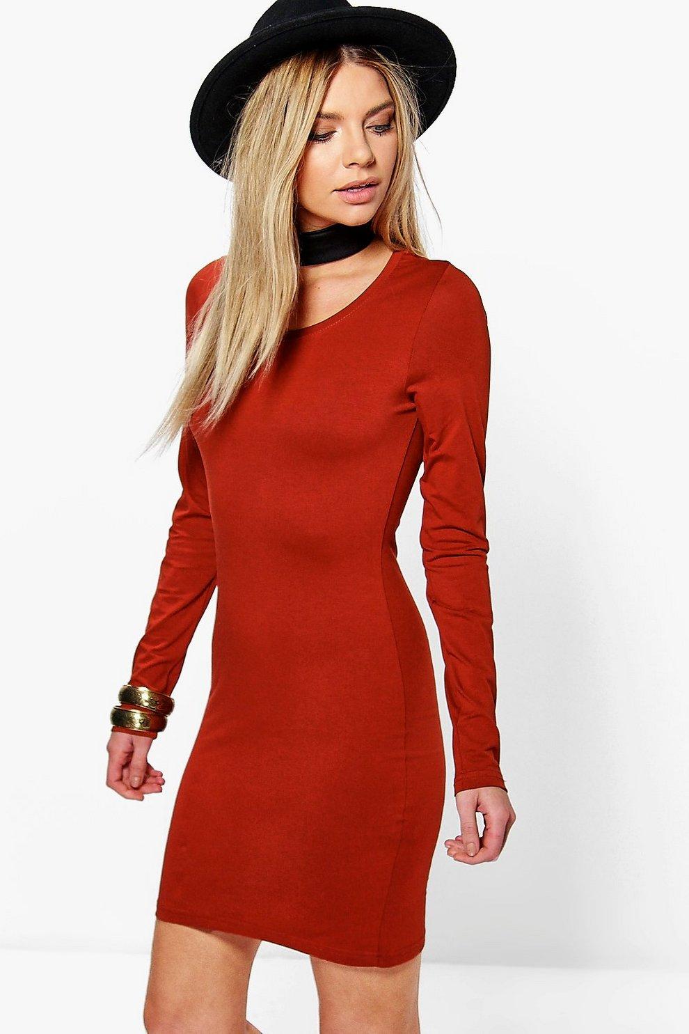 0b3df085f9eb Camille Long Sleeve Jersey Bodycon Dress | Boohoo