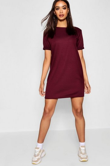 Womens Berry Roll Back Ponte Shift Dress