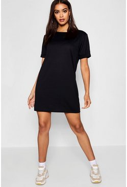 Womens Black Roll Back Ponte Shift Dress