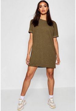 Womens Khaki Roll Back Ponte Shift Dress
