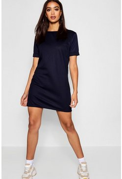 Womens Midnight Roll Back Ponte Shift Dress
