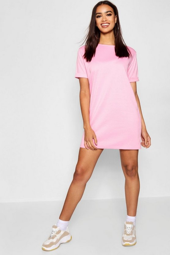 Womens Powder pink Roll Back Ponte Shift Dress