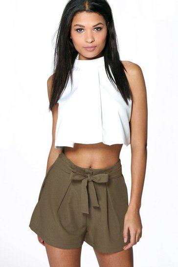 Womens Khaki Tie Belt Shorts