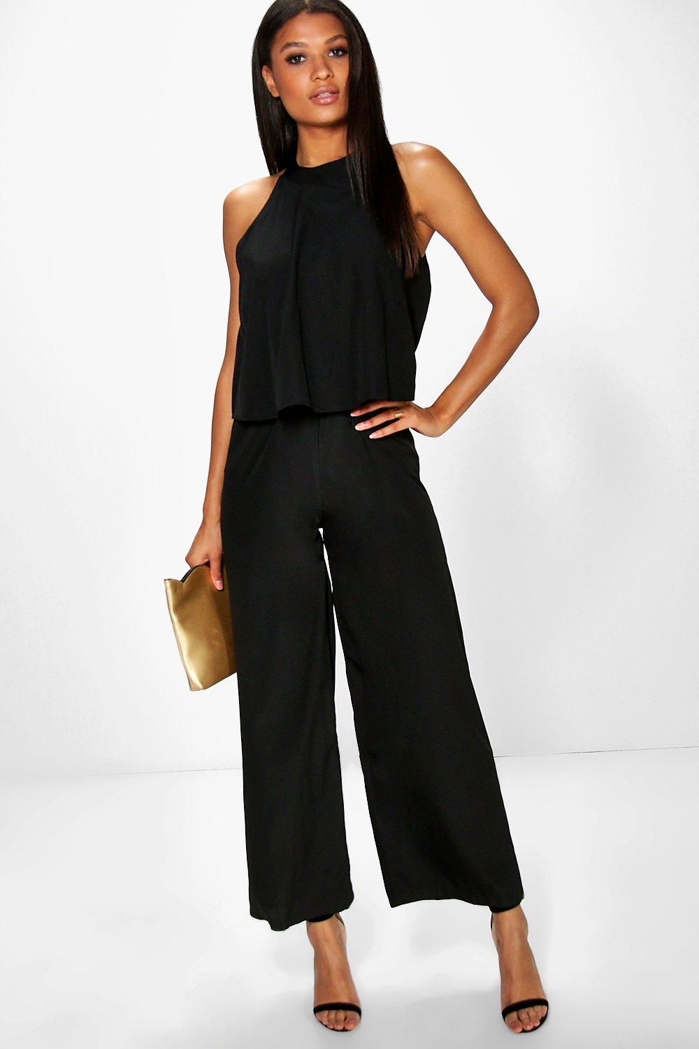 71873b010181 Olivia Double Layer Cut Away Shoulder Jumpsuit. Hover to zoom