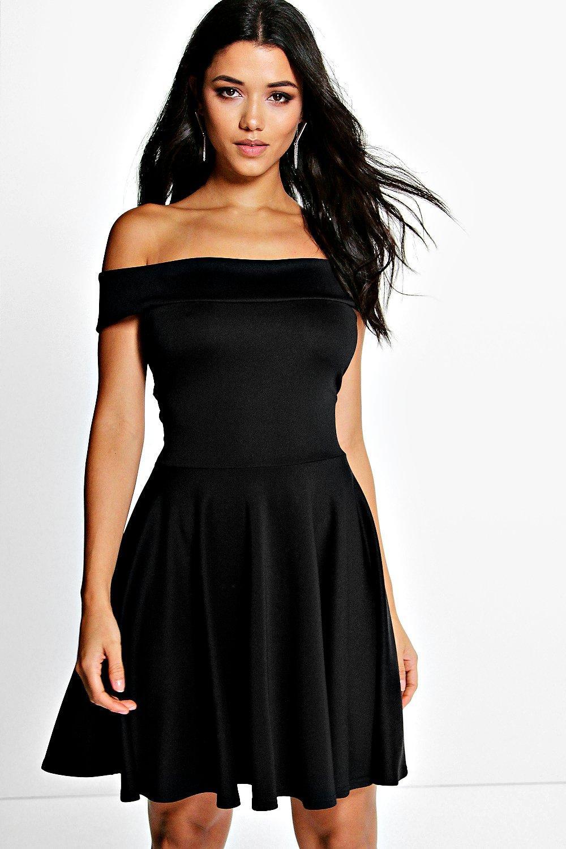 Boohoo Womens Tamsin Off The Shoulder Skater Dress | eBay