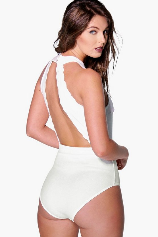 Scallop Edge Open Back Bodysuit