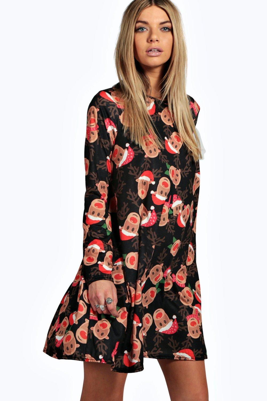 126dfdd824386 Alexis Reindeer Printed Swing Christmas Dress | Boohoo