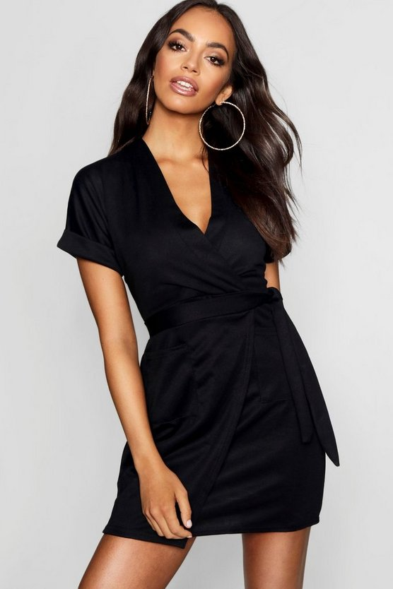 Womens Black Obi Tie Wrap Dress