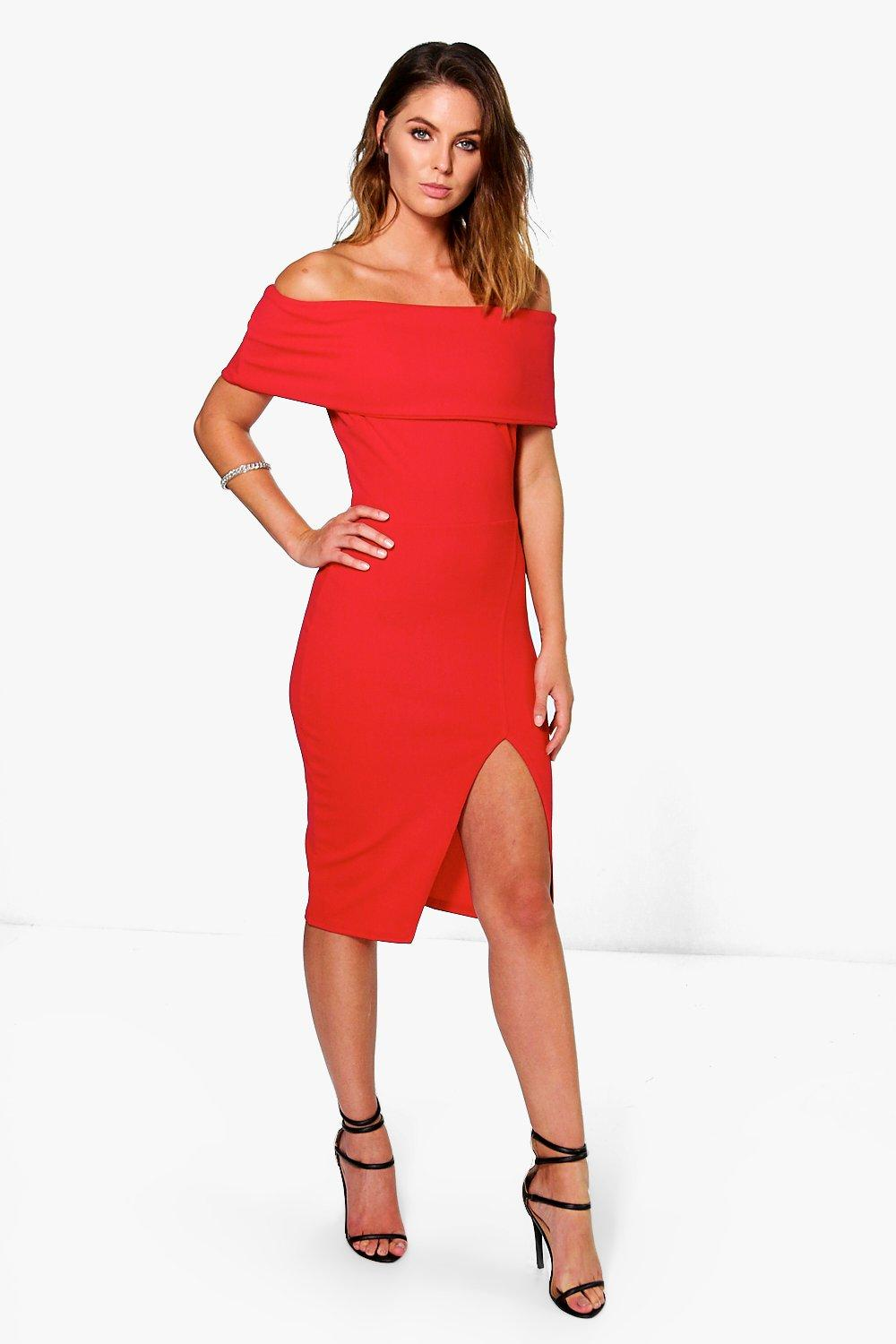 3fcd8139207 Womens Red Asia Oversized Off The Shoulder Side Split Midi Dress. Hover to  zoom