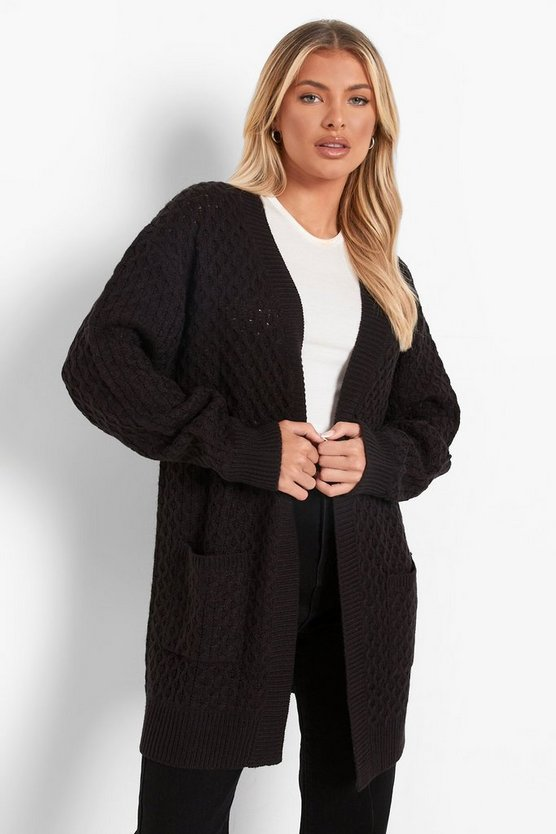 Womens Black Cable Cardigan With Pockets