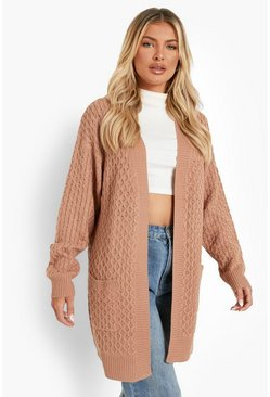 Womens Camel Cable Cardigan With Pockets