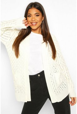 Womens Cream Cable Cardigan With Pockets