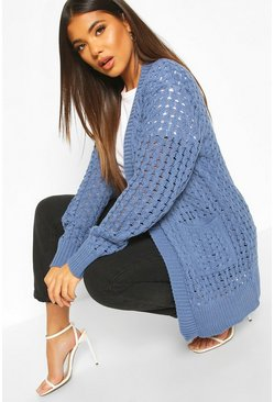 Denim-blue Cable Cardigan With Pockets