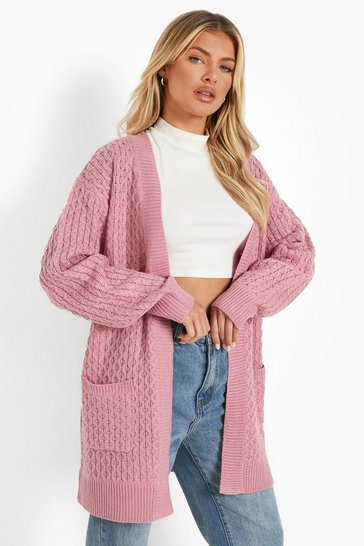 Rose Cable Cardigan With Pockets