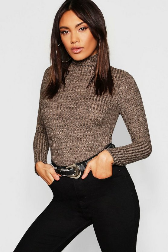 Womens Camel Turtle Neck Rib Knit Top