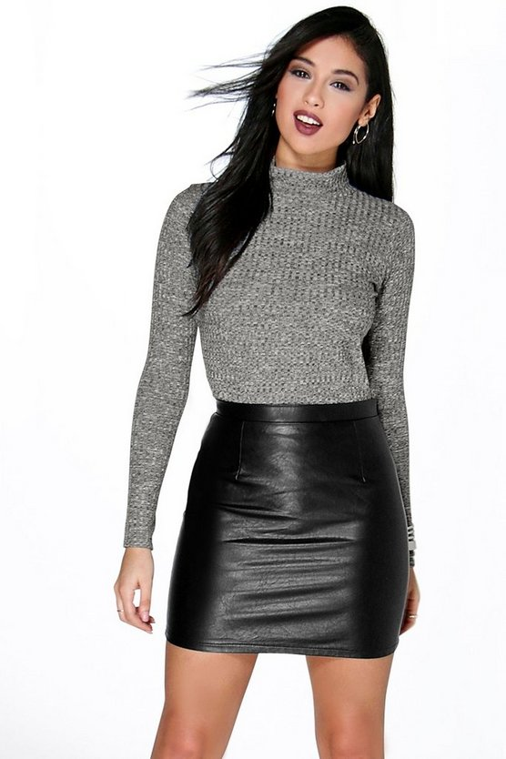 Caitlin Turtle Neck Rib Knit Top