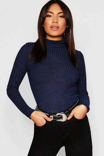 Womens Navy Turtle Neck Rib Knit Top