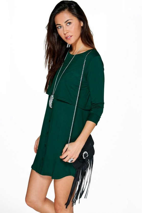 Womens Bottle Double Layer Long Sleeve Shift Dress