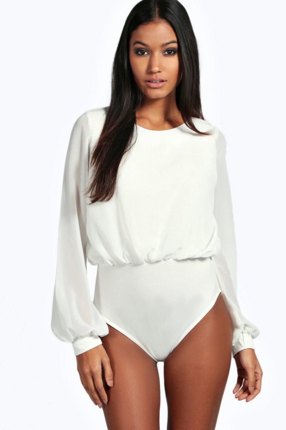 f7d732c25dd03 Daisy Chiffon Long Sleeve Bodysuit | Boohoo