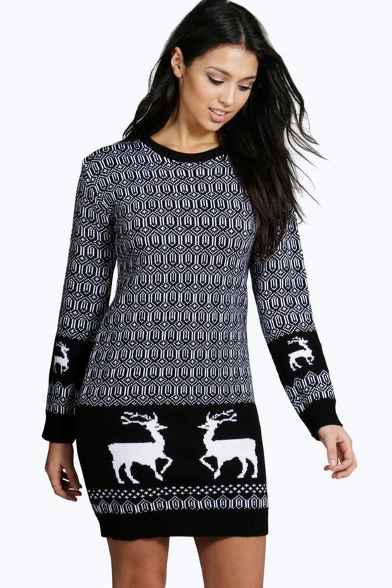 Emma Reindeer Christmas Jumper Dress