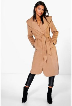 Womens Camel Belted Shawl Collar Coat