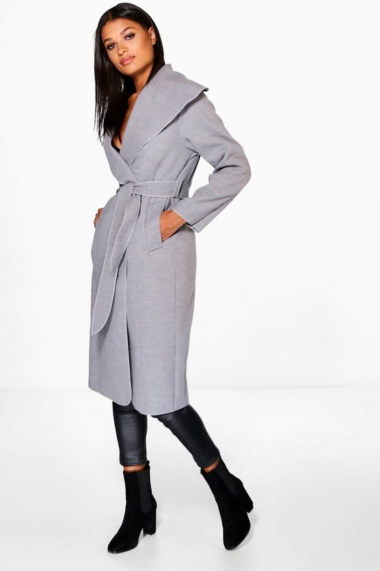 Womens Grey Belted Shawl Collar Coat