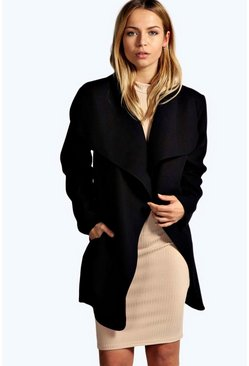 Womens Black Short Belted Waterfall Coat