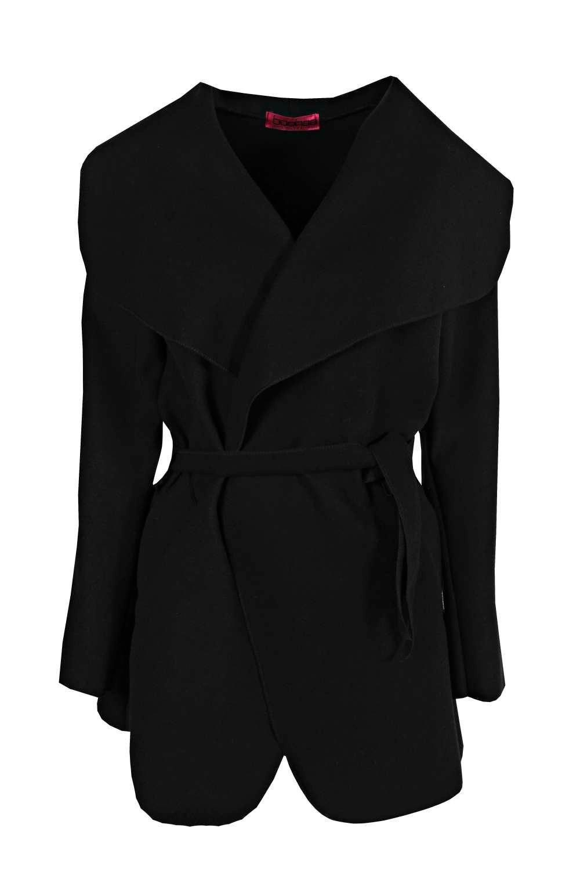 Boohoo Womens Abigail Belted Waterfall Coat DZZ8830510535 Black | eBay