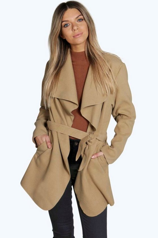 Womens Camel Short Belted Waterfall Coat
