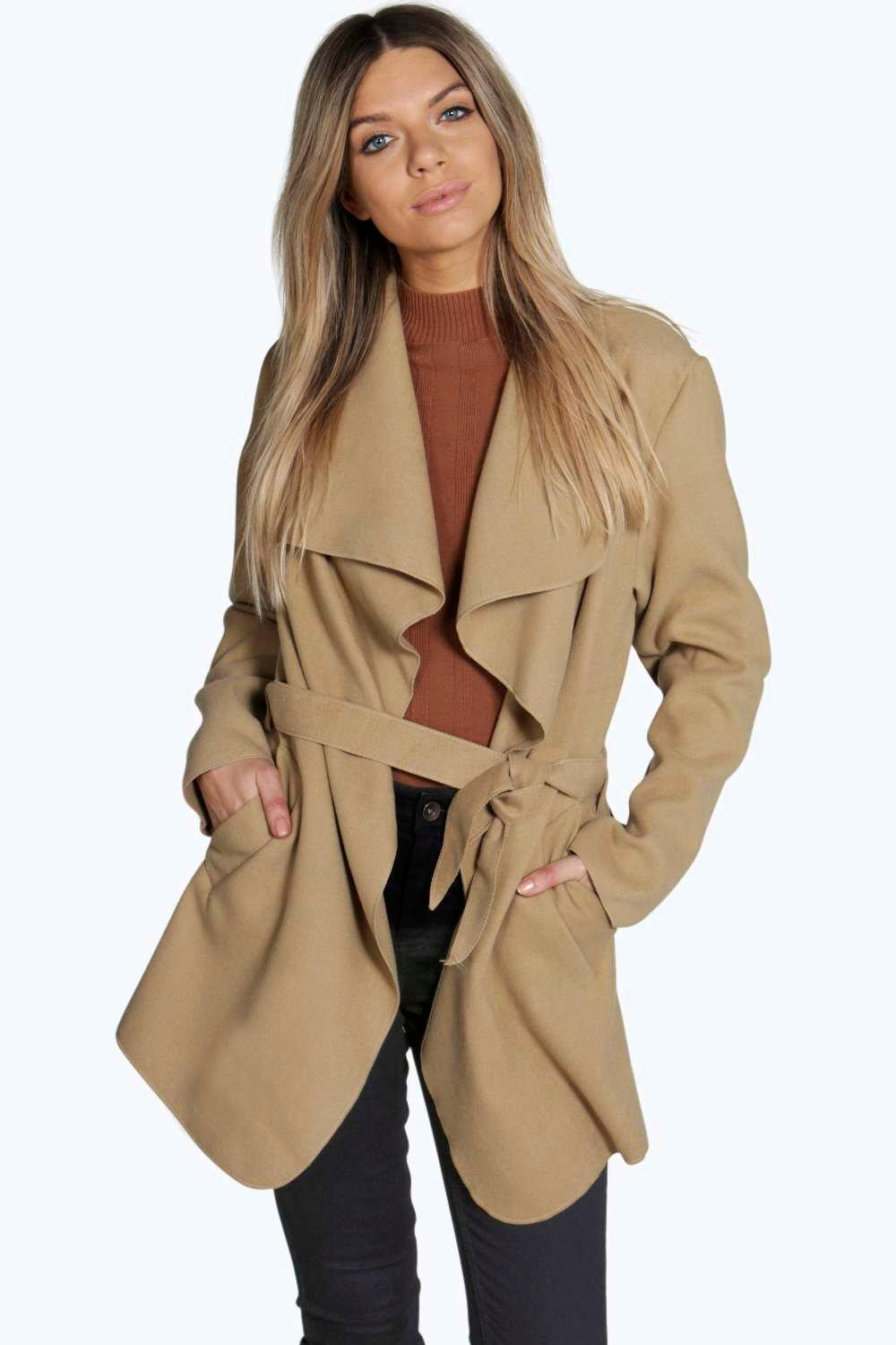 Short Belted Waterfall Coat | Boohoo
