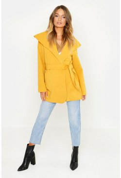 Womens Mustard Short Belted Waterfall Coat