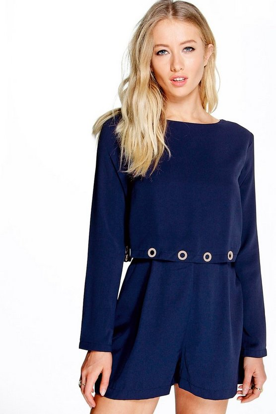 Katie Eyelet Trim Double Layer Playsuit