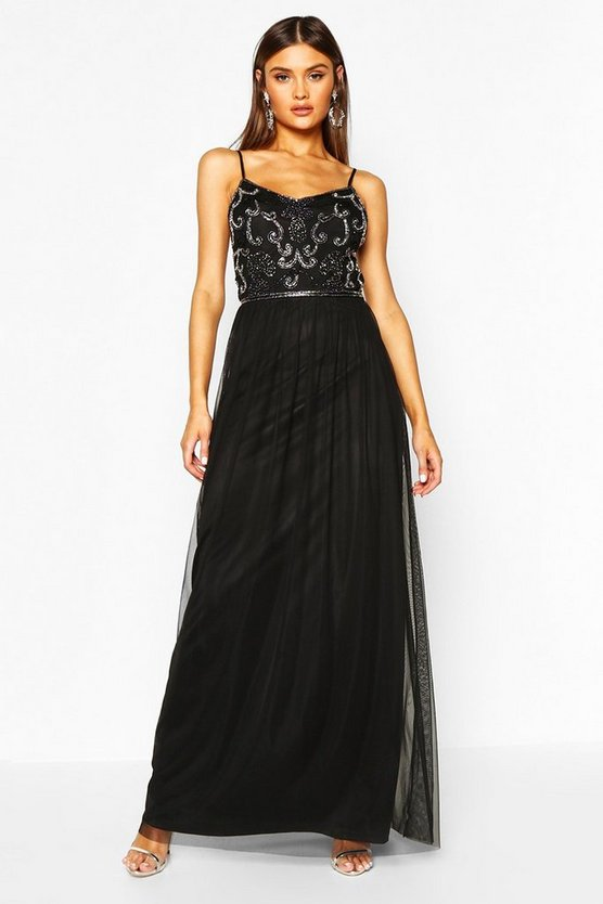 Womens Black Boutique Embellished Prom Maxi Dress