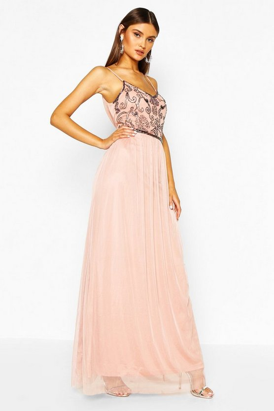 Boutique maxi abito prom impreziosito, Color carne, Femmina