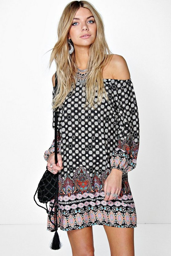 Davila Border Print Off The Shoulder Dress
