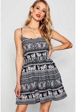 Womens Multi Elephant Strappy Skater Dress