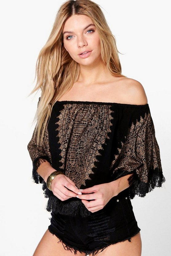 Tanya Placement Print Off The Shoulder Woven Top