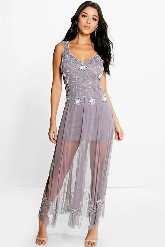 Womens Grey Mia Boutique Beaded Barely There Maxi Dress