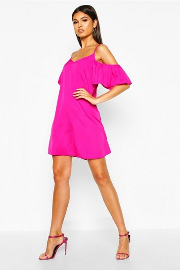 Womens Raspberry Frill Detail Open Shoulder Shift Dress