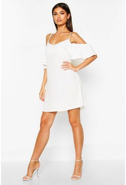 Womens White Frill Detail Open Shoulder Shift Dress