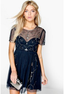 Womens Navy Boutique  Embellished Skater Dress