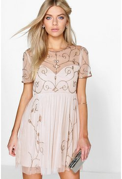 Womens Nude Boutique  Embellished Skater Dress