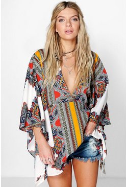 Womens Multi Kayla Scarf Print Wide Sleeve Woven Top