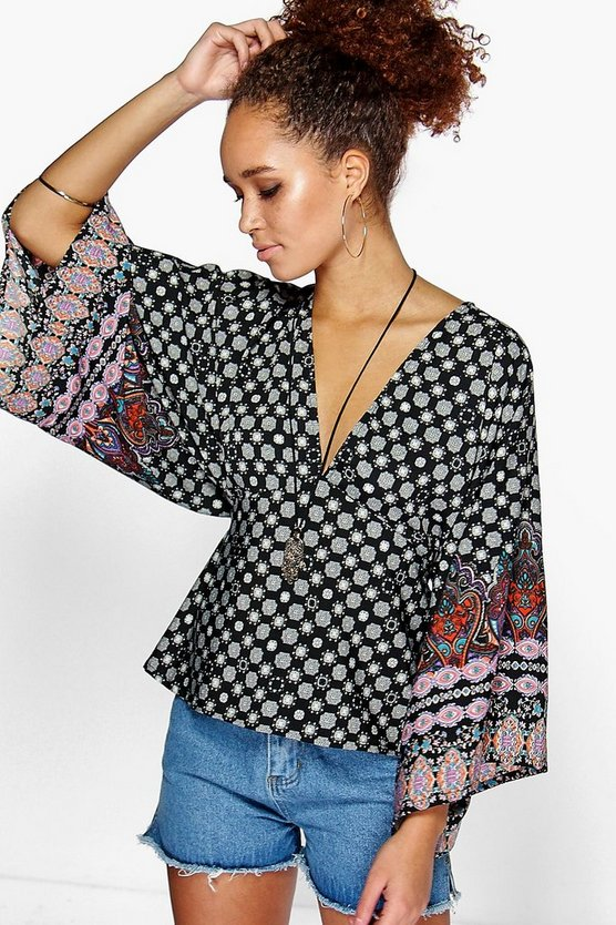 Evie Paisley Print Wide Sleeve Top