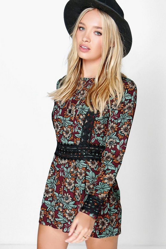 Womens Multi Ava Crochet Trim Bohemian Floral Playsuit